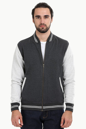 Full Zipper Charcoal Varsity Jacket