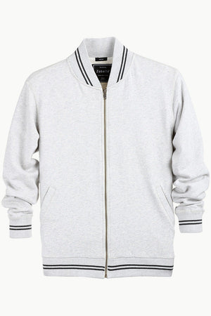 Full Zipper Oatmeal Varsity Jacket