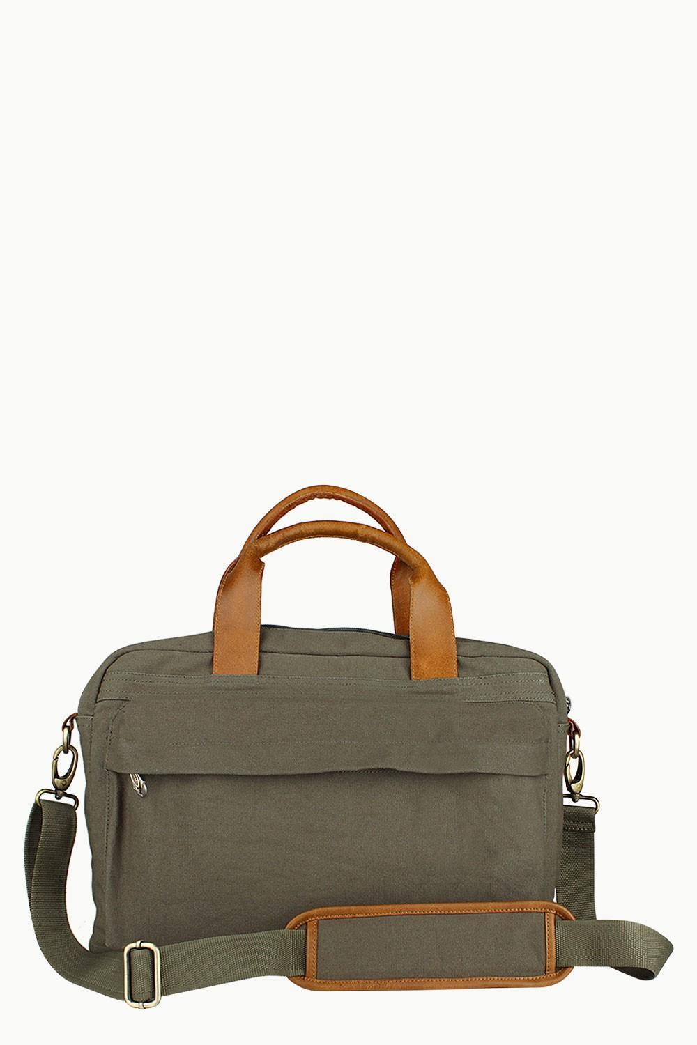 Buy Online Genuine Leather with DyedMoss Green Canvas Laptop Bags ... 9eac4a32a1674