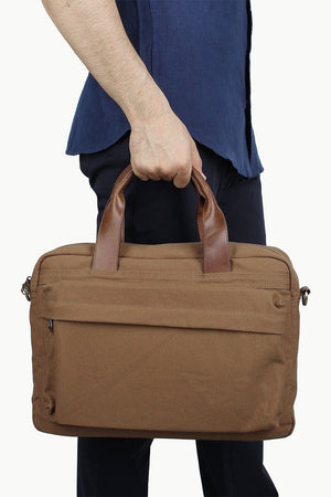 Solid Canvas Laptop Bag With Sling