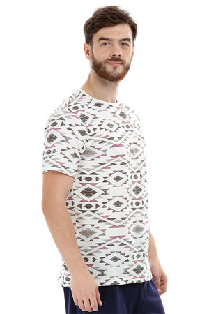 Geometric Print Crew Knit T-Shirt