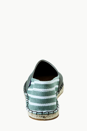 Green Canvas Striped Heel Espadrilles