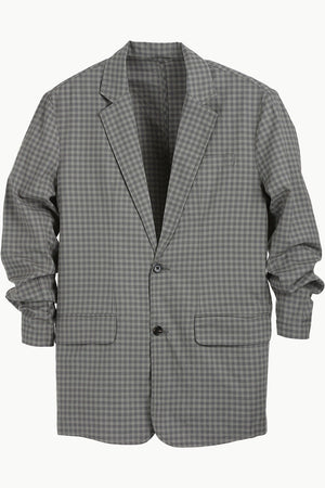 Grey Gingham Check Casual Blazer