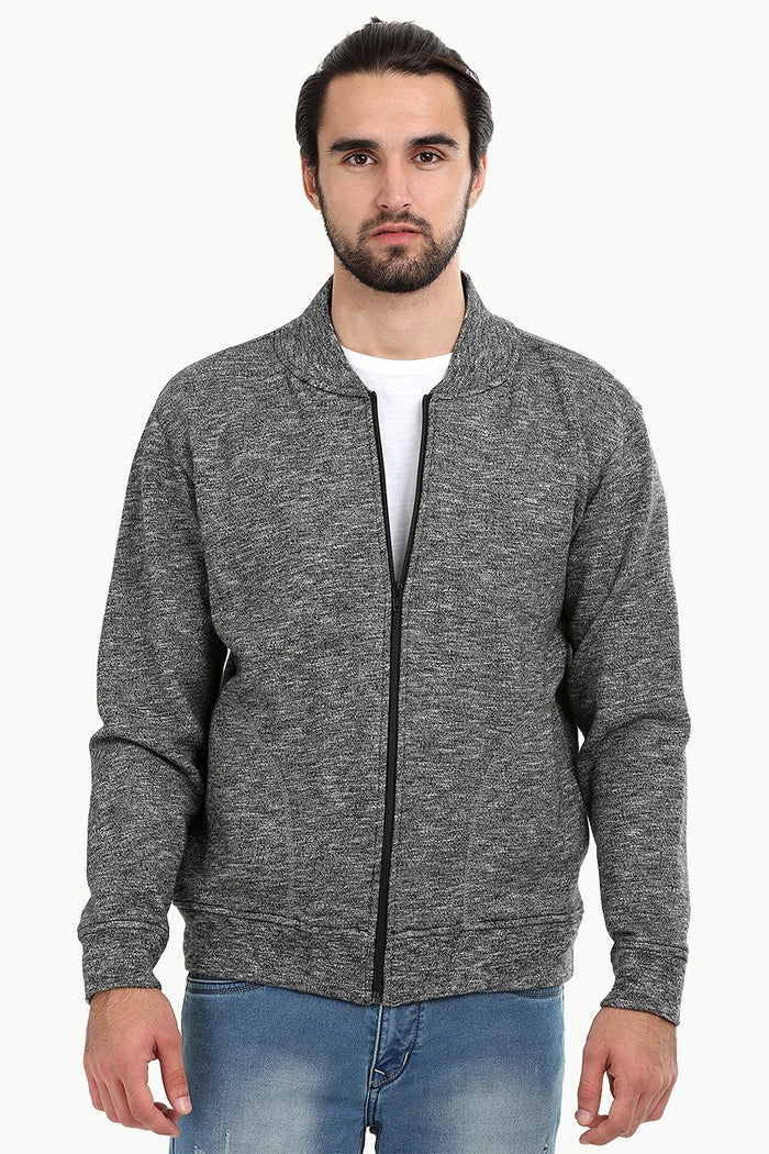 Heather Charcoal Zipper Fleece Jacket