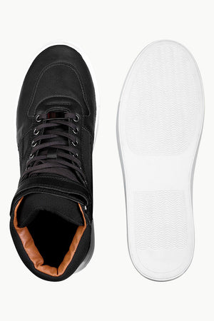 High Ankle Laced Black Plimsolls
