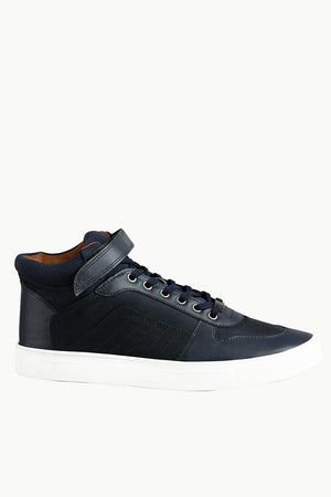 High Ankle Navy Lace-up Plimsolls