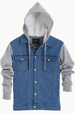 Knit Sleeves Denim Jacket
