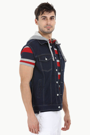 Hooded Sleeveless Denim Jacket