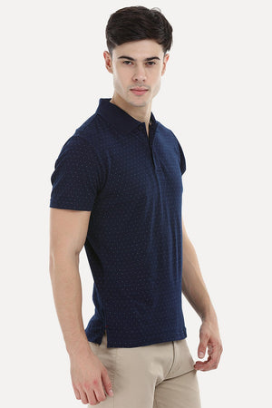 Printed Indigo Polo T-Shirt