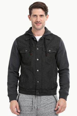 Knit Sleeves Denim Hooded Jacket