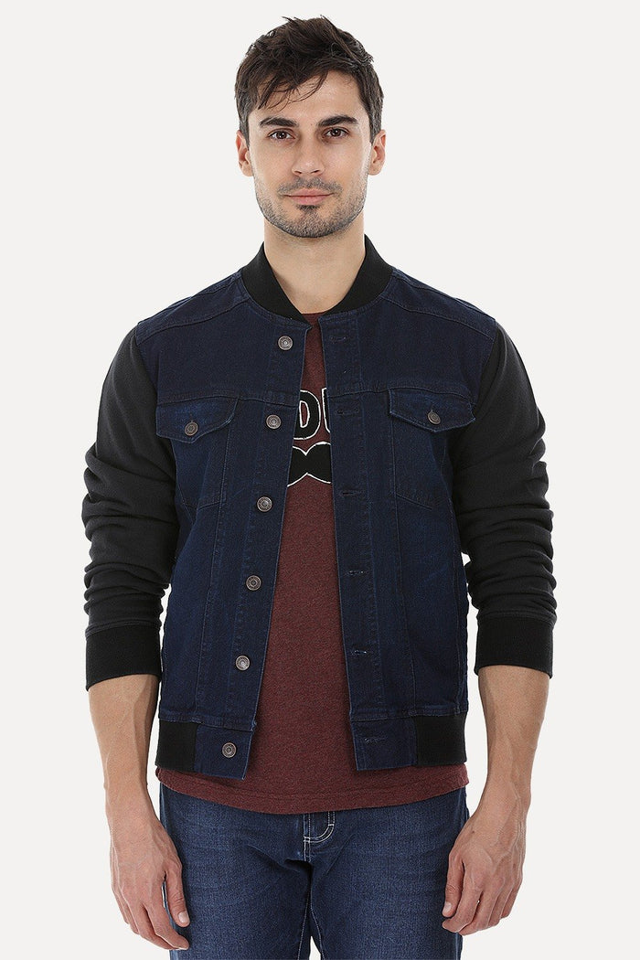 Knitted Sleeves Bomber Denim Jacket