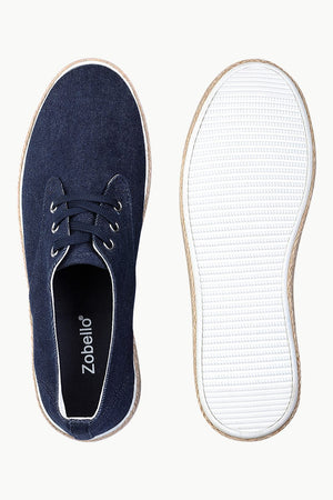Lace Up Solid Indigo Denim Espadrilles