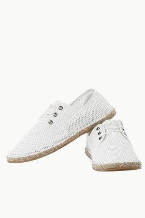 Lace Up White Mesh Espadrilles