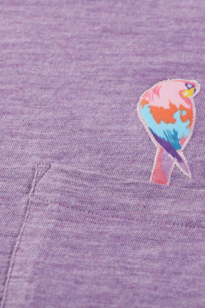 Lavender Parrot Embroidered T-Shirt
