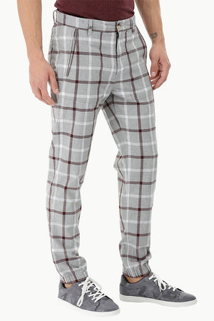 Lightweight Plaid Cuff Jogger Pants