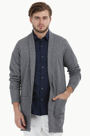 Longline Open Navy Cardigan