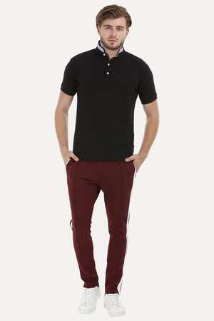Mandarin Collar Black Polo T-Shirt