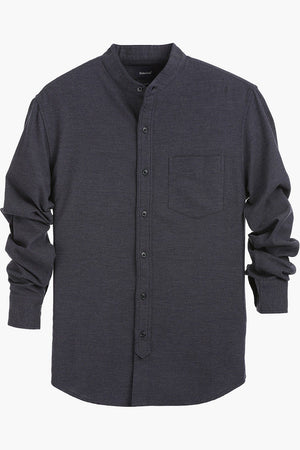 Mandarin Collar Solid Cotton Shirt