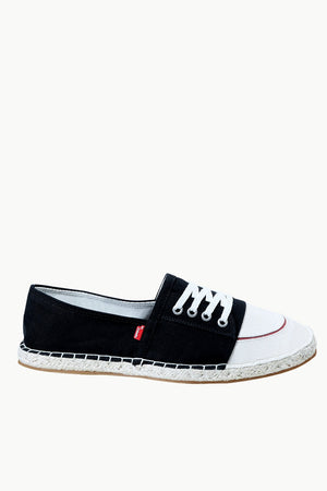 Mock Lace Up Black Espadrilles