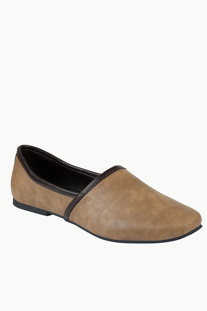 Mens Coffee Colour Faux Leather Juttis