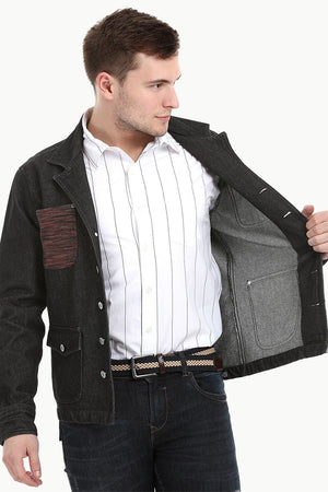 Men's Dark Wash Black Denim Lapel Jacket