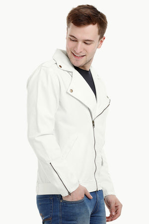 Mens Off White Biker Zipper Twill Denim Jacket