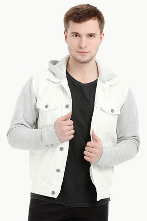 Men's Off WhiteKnit Sleeves Twill Denim Hood Jacket