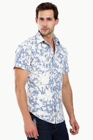 Men's Baby Blue Dyed Summer Shirt