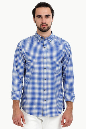 Men's Baby Blue Gingham Shirt