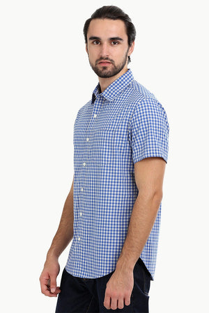 Men's Baby Blue Gingham Summer Shirt