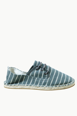 Men's Grey Jacquard Lace-up Espadrilles