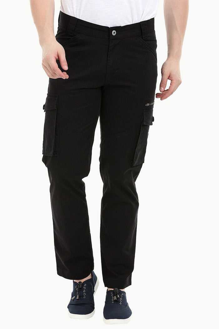 Men's Black 7 Pocket Twill Cargo Pants