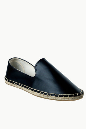 Men's Black Faux Leather Slip-On Espadrilles
