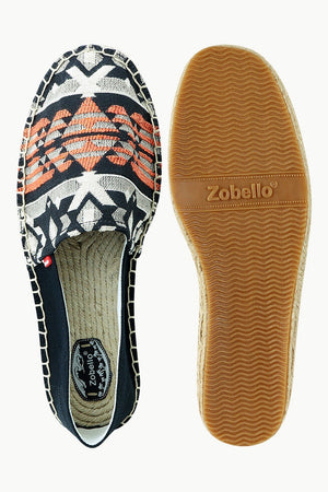 Men's Black Jacquard Embroidered Espadrilles