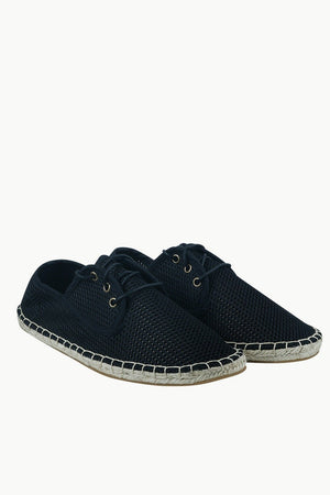 Mens Black Mesh Lace-Up Basque Espadrilles