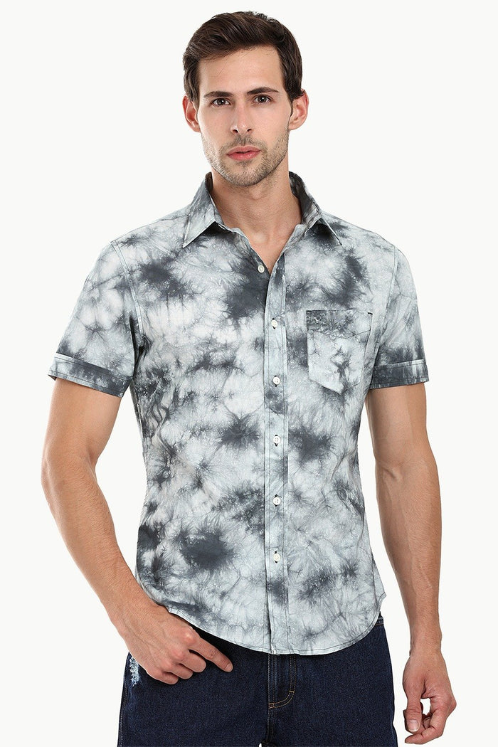 Men's Black n' White Tie Dye Summer Shirt