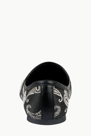 Mens Black Paisley Slip-On Juttis