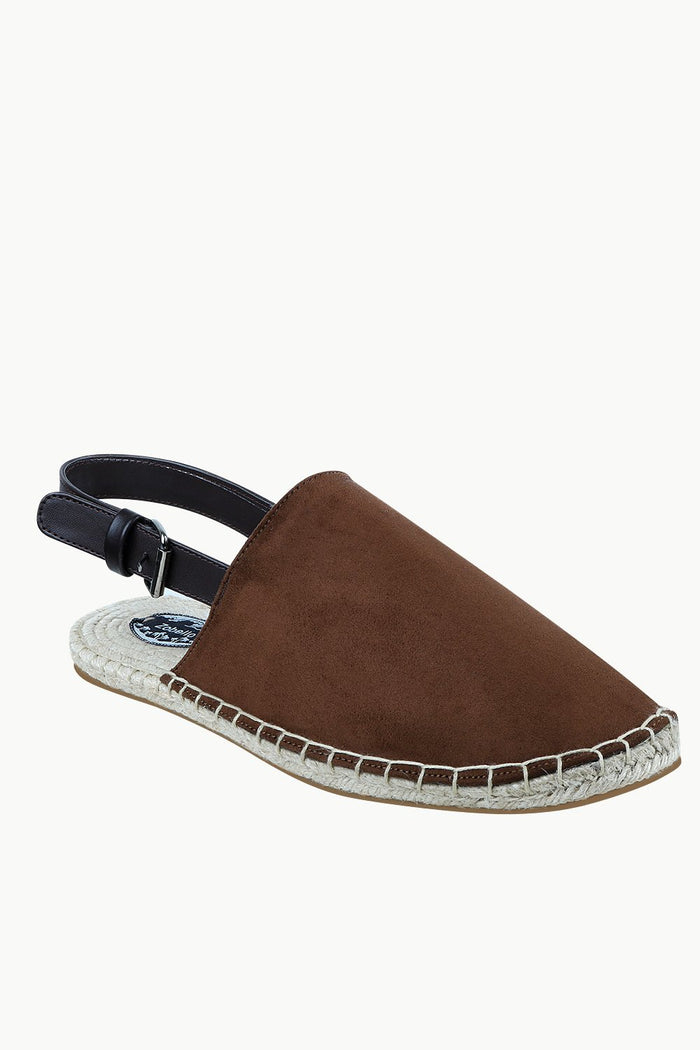 Mens Brown Faux Suede Strap Sandals