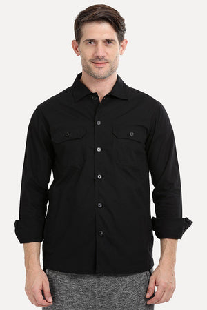 Men's Buttoned Jet Black Shacket