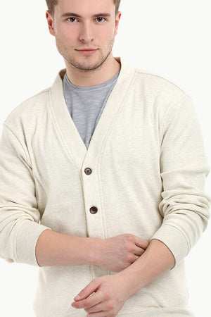 Men's Buttoned Navajo White English Cardigan