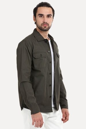 Men's Buttoned Olive Green Shacket