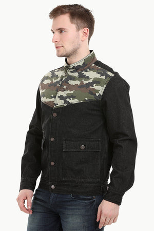Men's Camo Print Cut-N-Sew Black Denim Jacket
