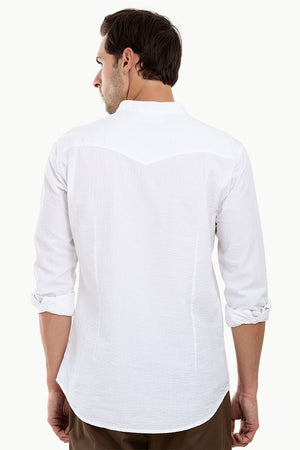 Men's Casual Seersucker Short Kurta