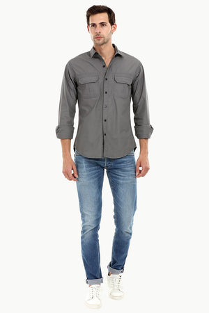 Men's Casual Trolley Grey Shirt