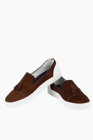 Men's Chocolate Faux Suede Tassel Plimsolls
