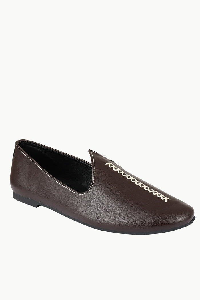 Mens Contrast Stitch Brown Juttis