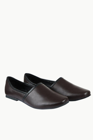 Mens Dark Brown Faux Leather Juttis
