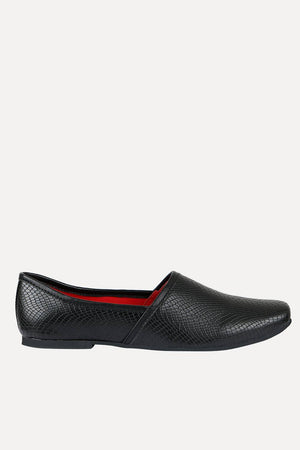 Men's Faux Leather Black Slip-On Juttis