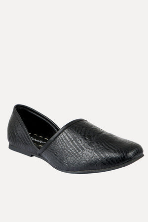 Mens Faux Leather Pattern Black Juttis