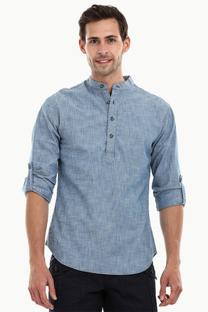 Men's Indigo Denim Short Kurta